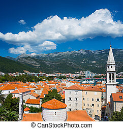 View on old town of Budva, Montenegro - View on old town of...
