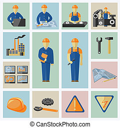 Engineering and construction icons set of workers tools...