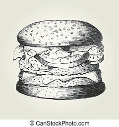 Hamburger - Sketch illustration of a hamburger