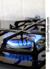 abrasador, gas, horno, cocina
