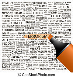 TERRORISM. Word cloud illustration. Tag cloud concept...