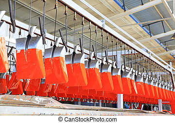 Steel shovel production line, in a manufacturing enterprise,...