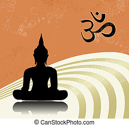 Buddha - Grunge buddha background with om symbol