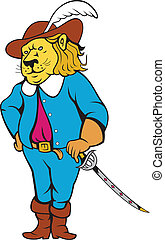 Musketeer Lion Hat Sword Cartoon - Illustration of a...