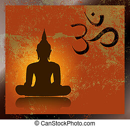 Buddha and om symbol - Grunge buddha silhouette with om sign