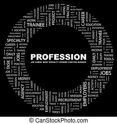 PROFESSION Concept illustration Graphic tag collection...