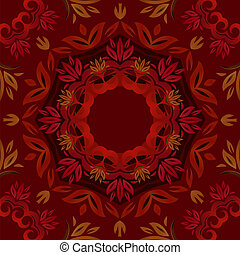 Abstract dark red floral background with round vector pattern