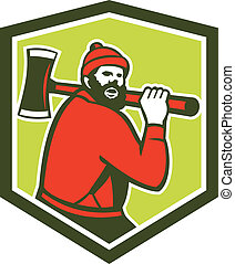 Paul Bunyan LumberJack Carrying Axe - Illustration of Paul...