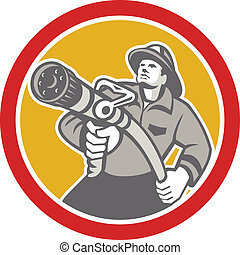 Fireman Firefighter Aiming Fire Hose Circle - Illustration...