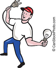 Electrician Hold Electric Plug and Bulb Cartoon