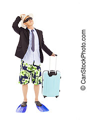 businessman holding a baggage and look up