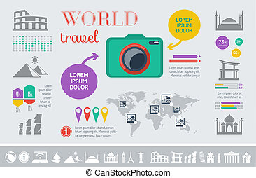 Travel Infographic Template. - Flat Travel Infographic...