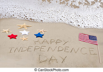 Happy Independence day background on the sandy beach near...