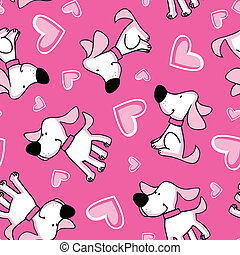 Puppy love seamless pattern placement.