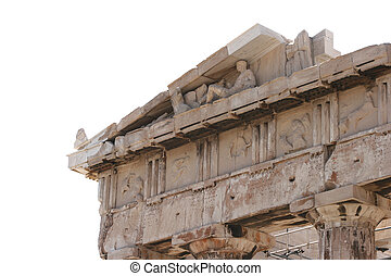 parthenon isolated - detail from sculptures in parthenon at...