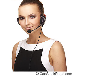 Nice hotline operator with headset - A nice and smiling...