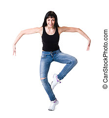 young dancer woman dancing against white background