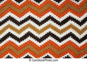 Zigzag knitting work - Striped fall color knitting work