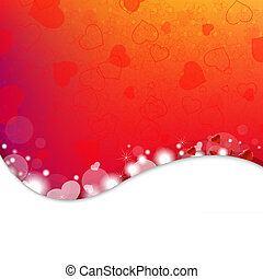 Bright Background From Red Hearts With Gradient Mesh, Vector...