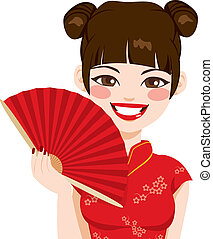 Chinese Woman Holding Fan - Beautiful brunette chinese woman...