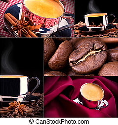 Collage of coffee details Coffee antique grinder, coffee...