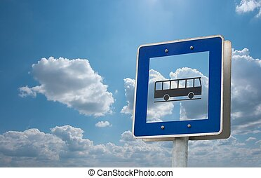 Bus stop - bus stop sign against bright sky