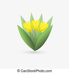 Yellow tulip. vector icon