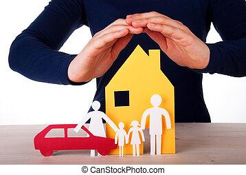 mãos, protegendo, casa, família, car