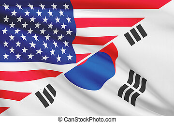Series of ruffled flags USA and South Korea - Flags of USA...
