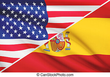 Series of ruffled flags USA and Spain - Flags of USA and...
