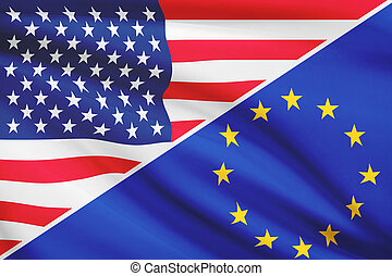 Series of ruffled flags. USA and European Union.
