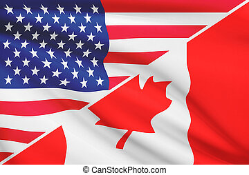 Series of ruffled flags USA and Canada - Flags of USA and...