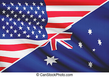 Series of ruffled flags USA and Australia - Flags of USA and...