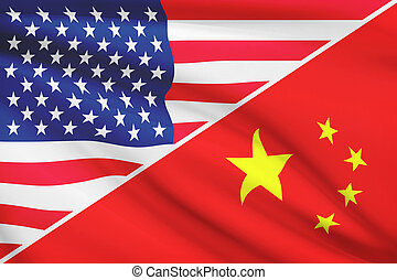 Series of ruffled flags USA and China - Flags of USA and...