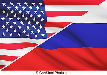 Series of ruffled flags USA and Russia - Flags of USA and...