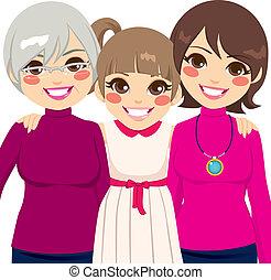 três, geração, família, mulheres