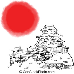 Japanese Himeji Castle - Line art illustration of Japanese...