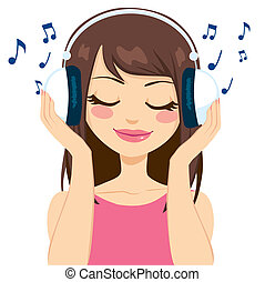 Woman Listening To Music - Beautiful brunette woman...