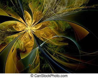 Symmetrical gold fractal flower, digital artwork for...