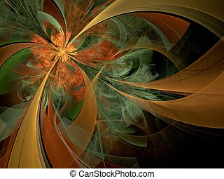 Symmetrical orange fractal flower, digital artwork for...