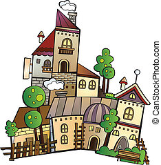 cartoon vector construction town - Illustration of fantasy...