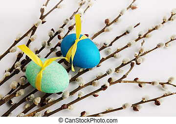 pussy-willow and eggs - Passover holiday still life,...