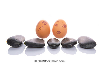 Chicken Egg With Zen Stone - Chicken egg with face...