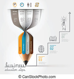 Business pencil infographics step - Business education...