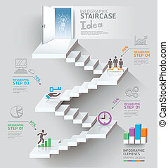 Business staircase thinking idea.