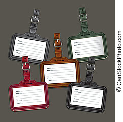 Leather luggage tags labels. Vector illustration