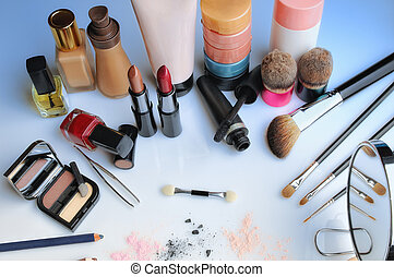 makeup set on table top view - makeup set on glass table top...