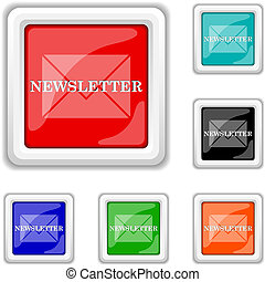 Newsletter icon - Square shiny icons - six colors vector set...
