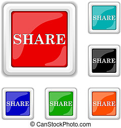Share icon - Square shiny icons - six colors vector set -...