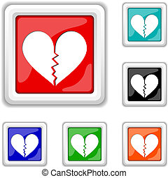 Broken heart icon - Square shiny icons - six colors vector...